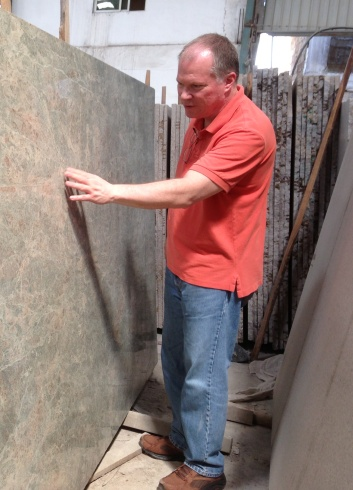 Chris inspecting slabs